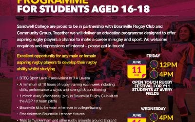 Bournville Rugby launch education academy programme