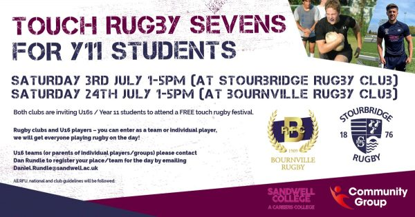 Bournville and Stourbridge hosting touch rugby festivals